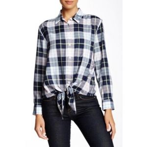 Equipment Plaid Daddy Tie Front Blouse